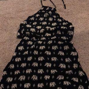 Forever 21 black elephant halter romper